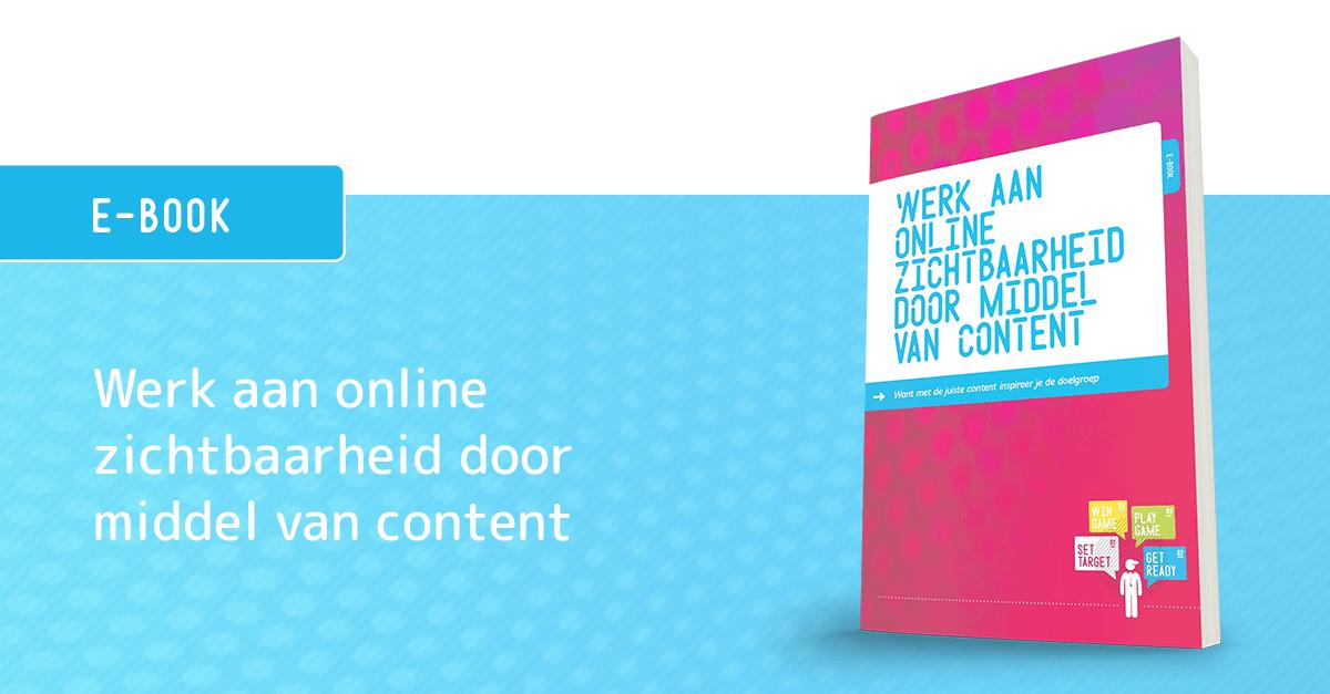E-book banner werk aan online zichtbaarheid door middel van content